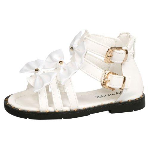 Larissa Girls Kids Toddler Studded Satin Bow Gladiator Strappy Sandals Open Toe