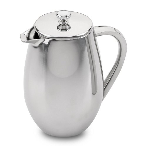 Cafe Ole 6 Cup Double Walled Bellied Cafetiere Coffee Maker, Satin, 0.8 Litre