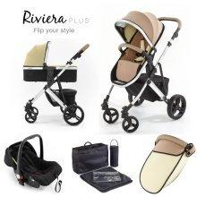 Tutti Bambini Riviera Plus 3 in 1 Silver Travel System - Taupe/pistachio