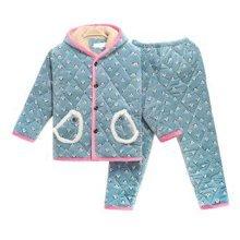 Children Pajamas Warm Thick Cotton Winter Suit Modern Set Sleepwear/Nightwear Clothes for Home, D3