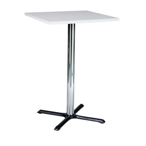Roza Quality Tall Poseur Kitchen Table Cast Iron Table with a or Top Black Round 80cm Round Cast Iron Base Chrome Column