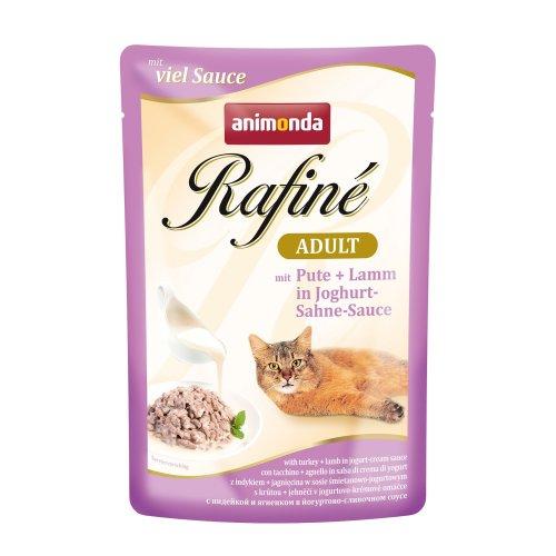 Animonda Rafine Adult Cat Food Turkey and Lamb in Yogurt Cream, Sauce (Pack of 12x 100g