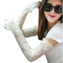 Lace Outdoor Sunscreen Clothing Women Gloves Breathable Sun Protective Sleeves-Light Yellow