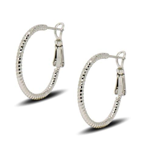 8d2d28e88c3e20 Blue Diamond Club - 9ct White Gold Filled Womens Small Hoop Earrings 25mm  on OnBuy