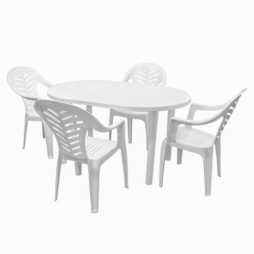 Resol Gala Oval Plastic Dinner Table & 4 Palma Plastic Dining Chairs - White - 5 Piece Garden Set