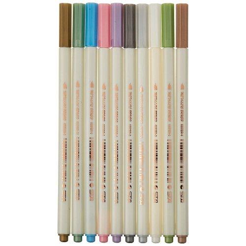 PuTwo Pens Set of 10 Soft Brush Tip Metallic Markers for Album Book, Rock Art Painting