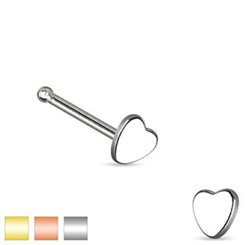 Smooth Heart Top Nose Stud Bone
