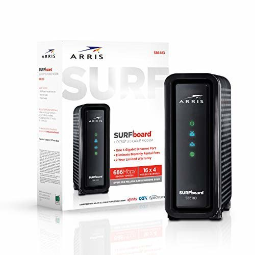 ARRIS Surfboard 16x4 SB6183 DOCSIS 3 0 Cable Modem Retail Package Black