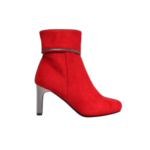 Metallic Heel Gemmed Ankle Boots