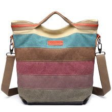 KONO Women Canvas Shoulder Handbag Rainbow Stripes Hobo Bag
