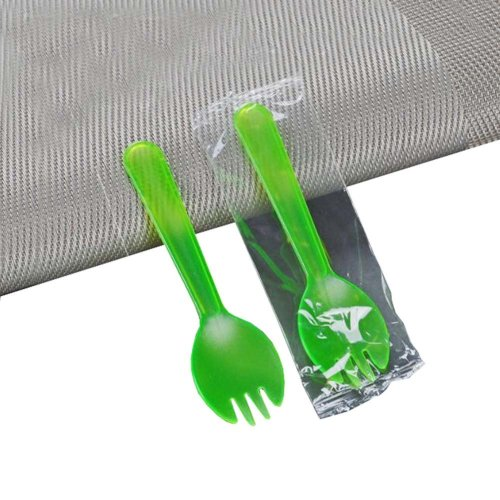 One hundred Green Disposable Plastic Dessert Spoons for Ice Cream Spoons