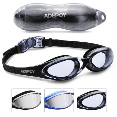 AdePoy Swimming googles Swimming Goggles Anti Fog Crystal Clear Vision with UV Protection No Leaking Easy to Adjust Comfortable for Adults Men...
