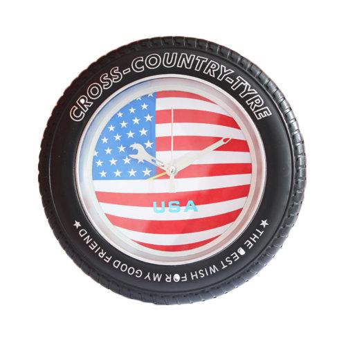 USA Flag Tire Shape Wall Clock Fashion Look Home Decoration(8'')