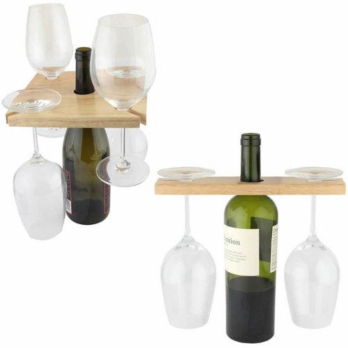 Wood Home House Wine Bottle & Glass Holder Rack Display Storage Board Gift