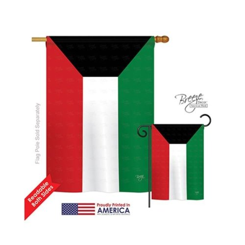 Breeze Decor 08269 Kuwait 2-Sided Vertical Impression House Flag - 28 x 40 in.