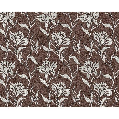 EDEM 939-36 heavyweight flower non-woven wallpaper brown silver-grey | 114 sq ft