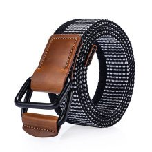 120CM Nylon Double Ring Weaven Leather Alloy Buckle Belt Military Tactical Durable Pants Strip