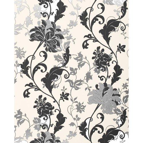 EDEM 833-20 luxury floral design flowers wallpaper black white silver 2.3 ft