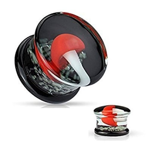 Red and White Mushroom with Glow In The Dark Sparkles Flesh Tunnel Ear Saddle Plug Earring Pyrex Glass Double Flared