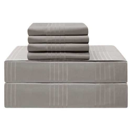 Jean Pierre YMS008225 Premium 420 Thread Count 100 Percent Cotton Sheet Set, Charcoal - Queen - 6 Piece