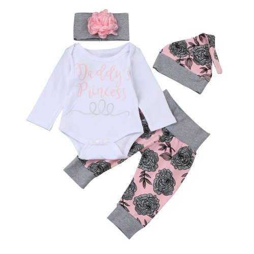 Newborn Baby Girls Daddy\'s Princess Letter Long Sleeve Tops Romper Pants Hat Headband Florals Prnting Fashion Baby Set Outfits