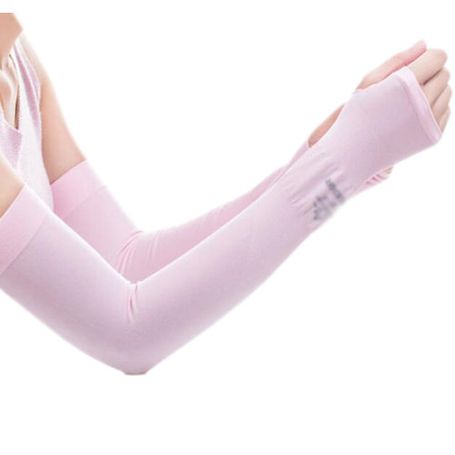 Unisex Outdoor Sunscreen Clothing Mittens Breathable Cycling Sun Protective Sleeves -Pink