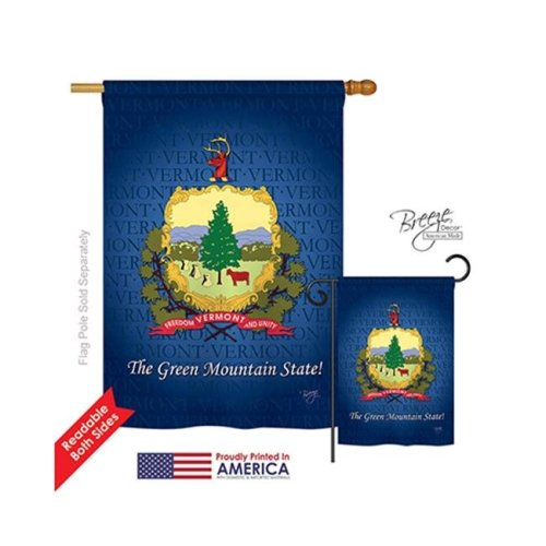 Breeze Decor 08134 States Vermont 2-Sided Vertical Impression House Flag - 28 x 40 in.