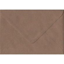Brown Ribbed Gummed Greeting Card Coloured Brown Envelopes. 100gsm FSC Sustainable Paper. 125mm x 175mm. Banker Style Envelope.