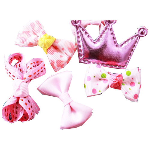 6Pcs Different Shape Colorful Baby Hair Clips-Pink