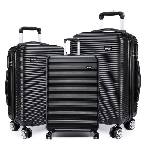 KONO Luggage Suitcase Travel Trolley Case Bag Hard Shell PC 4 Wheels Spinner Black 20 24 28 Inch Set