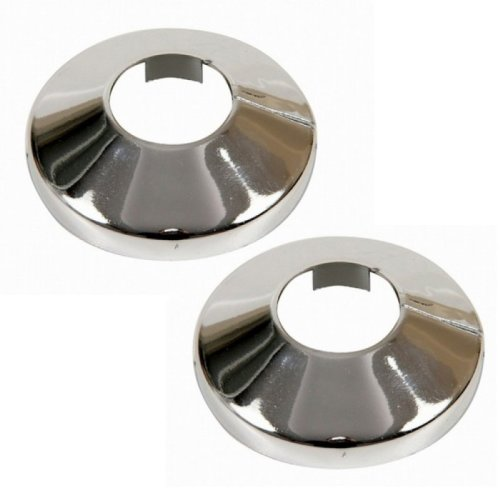 2 Pieces Pvc Chromed Radiator Pipe Cover Collar Rose 15mm, 18mm, 22mm x 2