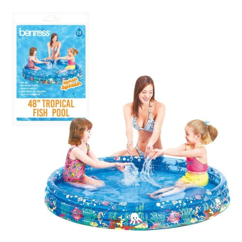 "Benross 48"" Outdoor Garden Kids 3 Ring Tropical Fish Swimming Paddling Pool"