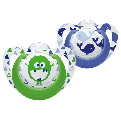 NUK Genius Baby Dummies, 0-6 Months, Silicone, BPA Free, Whale/Monster, 2 Count