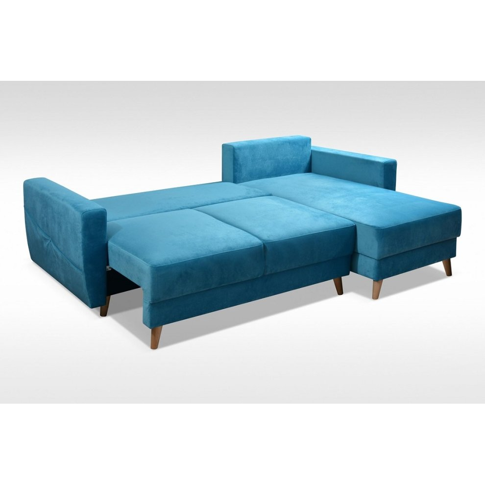 the latest 065a7 a30d1 Corner Sofa Bed Retro, Storage, Velveteen Fabric in Sky Blue