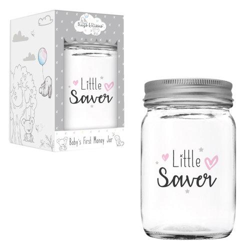 Hugs & Kisses Jam Jar Money Box New Baby Gift - Pink Little Saver