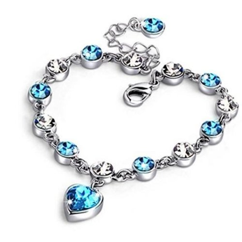 Chic Jewelry Women Fashion Heart Shape Blue Swarovski Elements Crystal Pendant Bracelet Wrist 7.5""