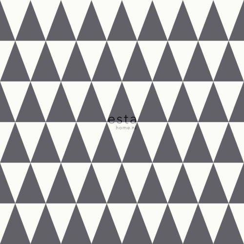 chalk printed eco texture non woven wallpaper graphic geometric triangle Black and matt white