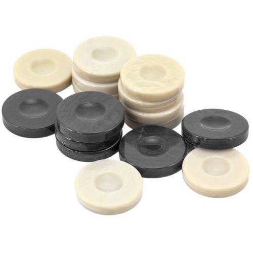 Galalith Luxury Backgammon Stones Dark Grey & Ivory 36mm