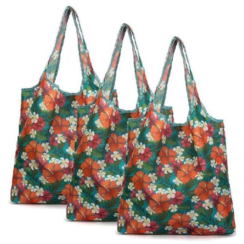 Flower - 3 Pieces Reusable Grocery Bags Foldable Boutique Shopping Bags Portable Storage Bag Carry Bags