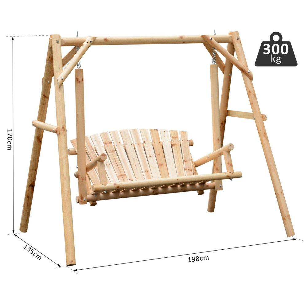 Outsunny Outdoor 2 Seater Larch Wood Wooden Garden Porch Swing Chair Hammock Bench Lounger