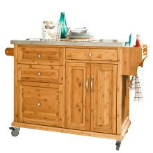 SoBuy® FKW14-N, Bamboo Kitchen Storage Trolley Kitchen Cabinet Island with Stainless Steel Top