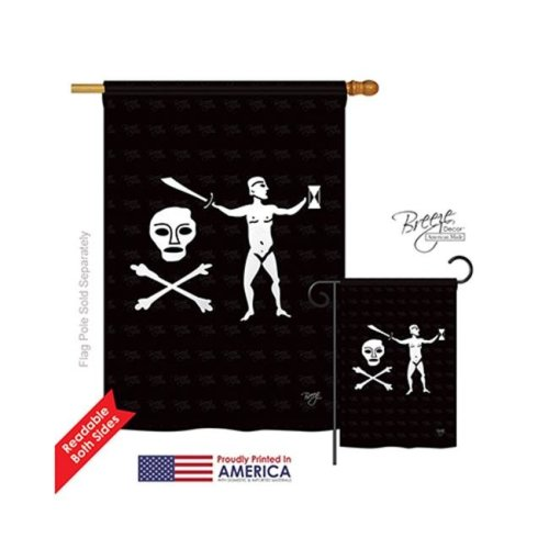 Breeze Decor 07041 Pirate Walter Kennedy 2-Sided Vertical Impression House Flag - 28 x 40 in.