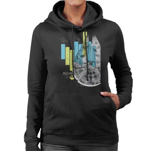 Star Wars Millenniumm Falcon Corellian Light Freighter Women's Hooded Sweatshirt