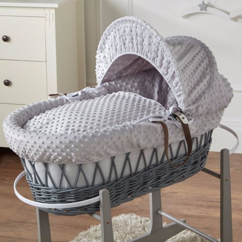 Grey Dimple Grey Wicker Moses Basket