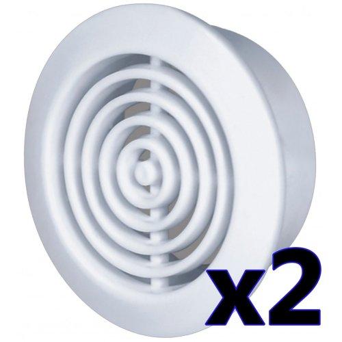 45mm Diameter Hole 2x Round Door Air Vent Grille Woodwork Furniture