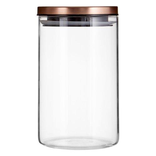 Freska Clear Glass Storage Jar With Rose Gold Metal Lid, 950ml