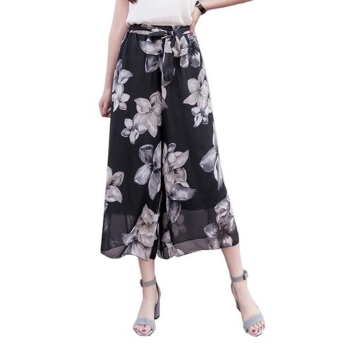 Stylish Printing Design Loose Fitting Pants Wide Leg Trousers Slacks for Women, #06