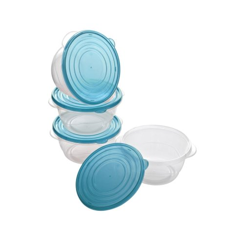 Set Of 4 Clear Plastic Food Containers With Blue Lids, 1.4 Ltr