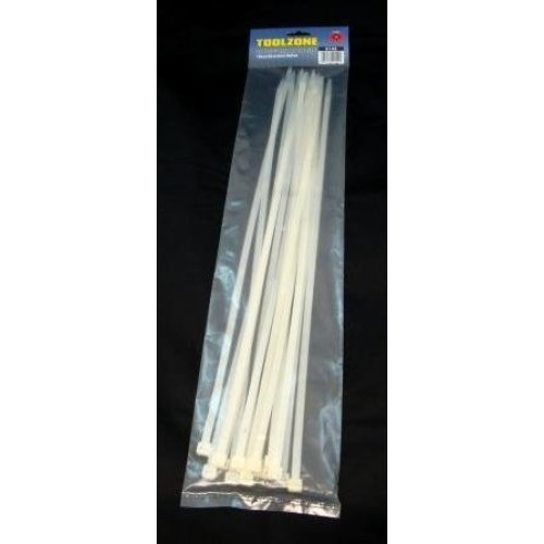 Toolzone 15pc 20in 8mm Cable Ties -  cable toolzone 15pc 20in 8mm ties white extra long nylon zip straps 510mm 7mm diy