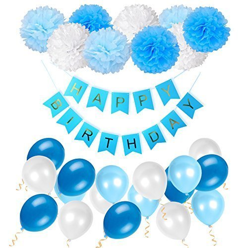 Happy Birthday Decorations Bunting Banner With Pearl Balloons Pom Poms Tissue Flowers Garland For Boys In Blue Party Supplies By WonderforU On